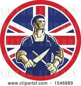 Vector Clip Art of Retro Cartoon Male Butcher Sharpening a Knife in a Union Jack Flag Circle by Patrimonio