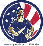 Vector Clip Art of Retro Cartoon Male Butcher Sharpening a Knife in an American Flag Circle by Patrimonio