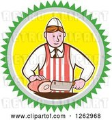 Vector Clip Art of Retro Cartoon Male Butcher Slicing Ham in a Green Gray White and Yellow Circle by Patrimonio