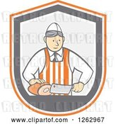 Vector Clip Art of Retro Cartoon Male Butcher Slicing Ham in an Orange White and Gray Shield by Patrimonio