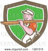 Vector Clip Art of Retro Cartoon Male Carpenter Carrying Lumber in a Brown White and Green Shield by Patrimonio