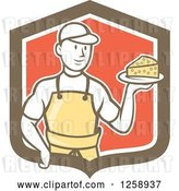 Vector Clip Art of Retro Cartoon Male Cheesemaker Holding a Parmesan Block in a Brown White and Red Shield by Patrimonio