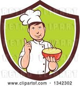 Vector Clip Art of Retro Cartoon Male Chef Holding a Hot Bowl of Soup in a Brown White and Green Shield by Patrimonio