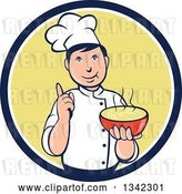 Vector Clip Art of Retro Cartoon Male Chef Holding a Hot Bowl of Soup in a Navy Blue White and Yellow Circle by Patrimonio