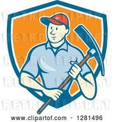 Vector Clip Art of Retro Cartoon Male Construction Worker Holding a Pickaxe in a Blue White and Orange Shield by Patrimonio