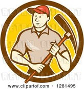 Vector Clip Art of Retro Cartoon Male Construction Worker Holding a Pickaxe in a Brown White and Yellow Circle by Patrimonio