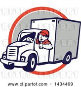 Vector Clip Art of Retro Cartoon Male Delivery Driver Giving a Thumb Up, over an Orange, White and Gray Circle by Patrimonio