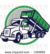 Vector Clip Art of Retro Cartoon Male Dump Truck Driver Giving a Thumb up over a Green White and Gray Circle by Patrimonio
