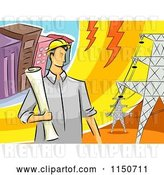 Vector Clip Art of Retro Cartoon Male Electrical Engineer by Transmission Towers by BNP Design Studio