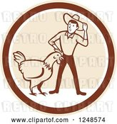 Vector Clip Art of Retro Cartoon Male Farmer and Giant Chicken in a Circle by Patrimonio