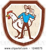 Vector Clip Art of Retro Cartoon Male Farmer and Giant Chicken in a Shield by Patrimonio