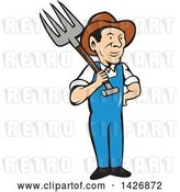 Vector Clip Art of Retro Cartoon Male Farmer or Worker Holding a Pitchfork over His Shoulder by Patrimonio