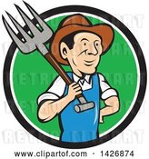 Vector Clip Art of Retro Cartoon Male Farmer or Worker Holding a Pitchfork over His Shoulder, Emerging from a Black White and Green Circle by Patrimonio