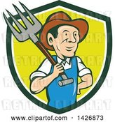 Vector Clip Art of Retro Cartoon Male Farmer or Worker Holding a Pitchfork over His Shoulder, Emerging from a Green, White and Yellow Shield by Patrimonio