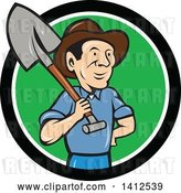 Vector Clip Art of Retro Cartoon Male Farmer Standing with One Hand on His Hip and a Shovel over His Shoulder, Emerging from a Black White and Green Circle by Patrimonio