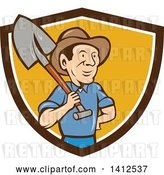 Vector Clip Art of Retro Cartoon Male Farmer Standing with One Hand on His Hip and a Shovel over His Shoulder, Emerging from a Brown White and Orange Shield by Patrimonio