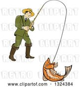 Vector Clip Art of Retro Cartoon Male Fisher Man Reeling in a Rainbow Trout by Patrimonio