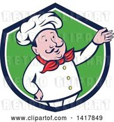 Vector Clip Art of Retro Cartoon Male French Chef Presenting in a Blue White and Green Crest by Patrimonio