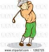 Vector Clip Art of Retro Cartoon Male Golfer Swinging a Club by Patrimonio