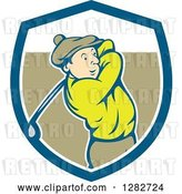 Vector Clip Art of Retro Cartoon Male Golfer Swinging a Club in a Blue White and Brown Shield by Patrimonio