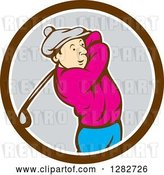 Vector Clip Art of Retro Cartoon Male Golfer Swinging a Club in a Brown White and Gray Circle by Patrimonio