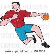 Vector Clip Art of Retro Cartoon Male Handball Player in Action by Patrimonio