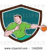 Vector Clip Art of Retro Cartoon Male Handball Player in Action, Emerging from a Brown White and Teal Shield by Patrimonio