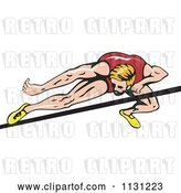 Vector Clip Art of Retro Cartoon Male High Jump Athlete by Patrimonio