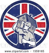 Vector Clip Art of Retro Cartoon Male Home Builder Carrying a House and Hammer in a British Flag Circle by Patrimonio