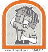 Vector Clip Art of Retro Cartoon Male Home Bulider Carrying a House and Hammer in a Crest by Patrimonio