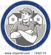 Vector Clip Art of Retro Cartoon Male Home Bulider in a Circle with Houses and a Hammer by Patrimonio
