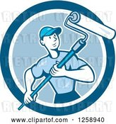 Vector Clip Art of Retro Cartoon Male House Painter with a Roller Brush in a Blue Circle by Patrimonio