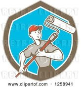 Vector Clip Art of Retro Cartoon Male House Painter with a Roller Brush in a Brown White and Blue Shield by Patrimonio