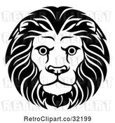Vector Clip Art of Retro Cartoon Male Lion Head by AtStockIllustration