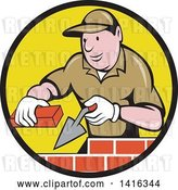 Vector Clip Art of Retro Cartoon Male Mason Worker Laying Bricks in a Black and Yellow Circle by Patrimonio