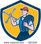 Vector Clip Art of Retro Cartoon Male Mechanic Holding a Socket Wrench and a Tire in a Blue White and Yellow Shield by Patrimonio