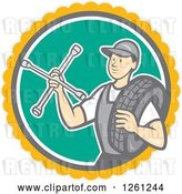 Vector Clip Art of Retro Cartoon Male Mechanic Holding a Socket Wrench and a Tire in a Circle by Patrimonio