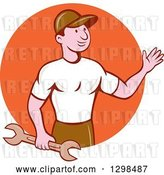 Vector Clip Art of Retro Cartoon Male Mechanic Holding a Wrench and Waving in an Orange Circle by Patrimonio