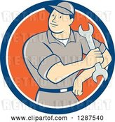 Vector Clip Art of Retro Cartoon Male Mechanic Holding a Wrench in a Blue White and Orange Circle by Patrimonio