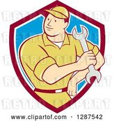 Vector Clip Art of Retro Cartoon Male Mechanic Holding a Wrench in a Maroon White and Blue Shield by Patrimonio