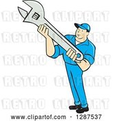 Vector Clip Art of Retro Cartoon Male Mechanic Holding an Adjustable Wrench by Patrimonio