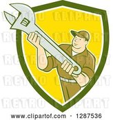 Vector Clip Art of Retro Cartoon Male Mechanic Holding an Adjustable Wrench in a Green White and Yellow Shield by Patrimonio
