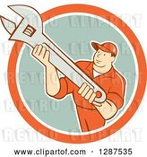 Vector Clip Art of Retro Cartoon Male Mechanic Holding an Adjustable Wrench in an Orange White and Pastel Green Circle by Patrimonio