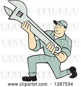 Vector Clip Art of Retro Cartoon Male Mechanic Kneeling and Holding an Adjustable Wrench by Patrimonio