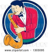 Vector Clip Art of Retro Cartoon Male Musician Playing a Saxophone and Emerging from a Blue and White Circle by Patrimonio