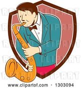 Vector Clip Art of Retro Cartoon Male Musician Playing a Saxophone and Emerging from a Brown White and Pink Shield by Patrimonio
