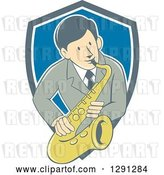 Vector Clip Art of Retro Cartoon Male Musician Playing a Saxophone and Emerging from a Gray White and Blue Shield by Patrimonio