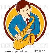 Vector Clip Art of Retro Cartoon Male Musician Playing a Saxophone and Emerging from a Maroon White and Yellow Circle by Patrimonio