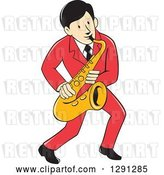 Vector Clip Art of Retro Cartoon Male Musician Playing a Saxophone and Wearing a Red Suit by Patrimonio