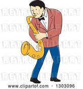 Vector Clip Art of Retro Cartoon Male Musician Playing a Saxophone by Patrimonio
